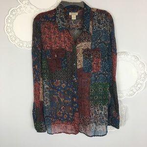 Perfect Boho Lucky Brand Gypsy Blouse Top Sz XL